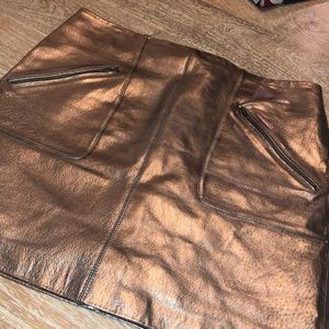 BLANKNYC copper faux leather mini skirt